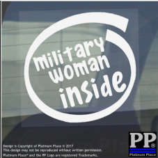 1 x Military Woman Inside-Window,Car,Van,Sticker,Sign,Vehicle,Adhesive,Army,War